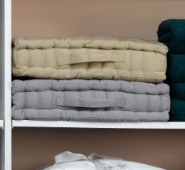 Photograph of towels on a shelf